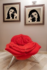 Fashionable red armchair