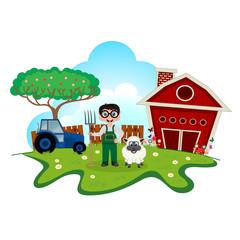 Stock farmer with sheep on farm cartoon for your design