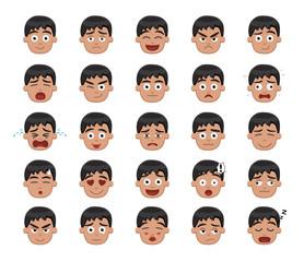 Boy Emotion Faces Vector Illustration 1