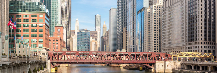 Photo sur Plexiglas Chicago Chicago downtown panorama