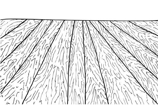 Hand Draw Sketch of perspective Wooden Floor