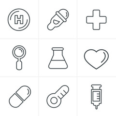 Line Icons Style  Medical Icons Set, Vector Design