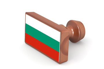 Wooden stamp with Bulgaria flag