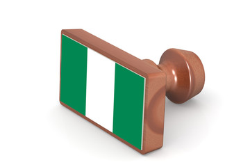Wooden stamp with Nigeria flag