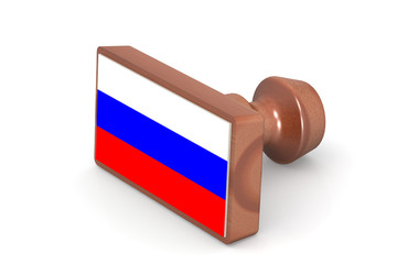 Wooden stamp with Russia flag