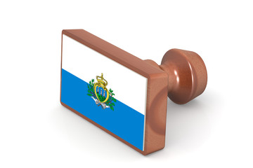 Wooden stamp with San Marino flag