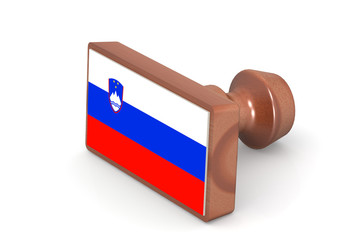 Wooden stamp with Slovenia flag