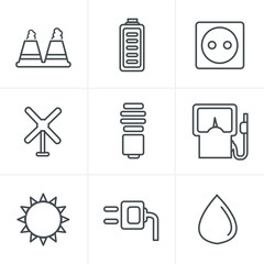 Line Icons Style  vector black eco energy icons set on gray