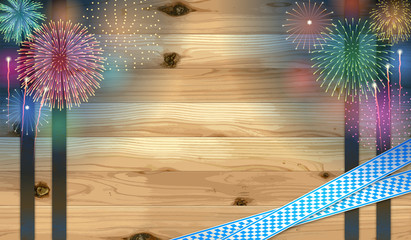 Oktoberfest background(Bavarian flag and Fireworks)