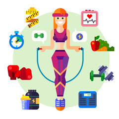 Happy and healthy fitness girl with a skipping rope, Sport style symbols: vegetables, shaping, cardio, dumbbells, boxing gloves, healthy food. Vector flat icon and illustration set
