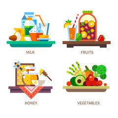 Vector flat illustration set. Healthy and delicious foods: honey, milk, fruits, berries vegetables, juice, jam.