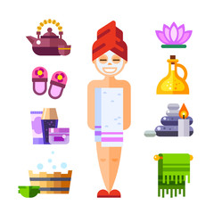 Happy spa girl. Sauna attributes: teapot, towel, shampoo, aroma oil, candles. Vector flat icon and illustration set