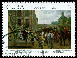 Vintage  postage stamp. Arrival of Spanish Troops.