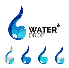 Set of abstract eco water icons, business logotype nature green
