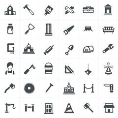 carpenter icons set.