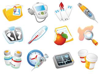 Diabetes Mellitus medical vector icon set