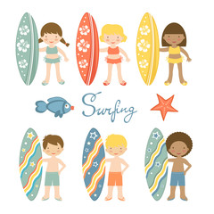 Cute collection of surfing kids