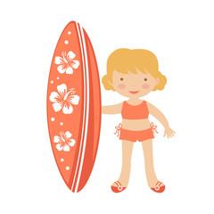 Cute little girl surfing