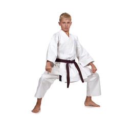 boy training karate