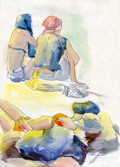 Sketch people sitting lying. Watercolor painting