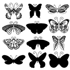 Butterflies design. Set of butterflies silhouettes in monochrome style for tattoo design. Vector objects.