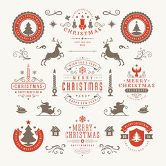 Merry Christmas And Happy New Year Wishes Typographic Labels