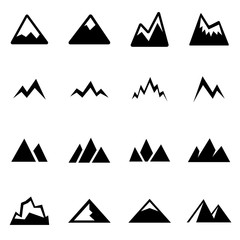 Vector black mountains icon set