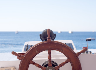 Ships wheel and navigation console