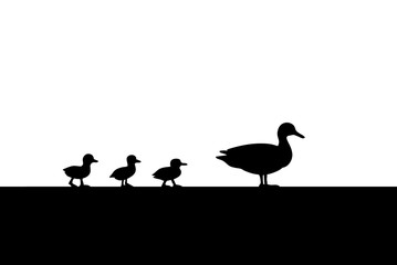 Duck and Ducklings for a walk Silhouette