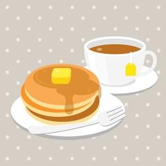 vector pancake and tea,flat design