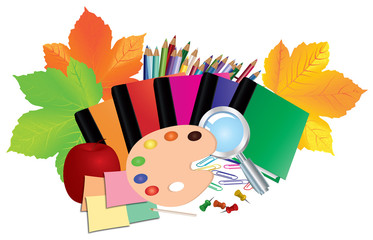 Image of school supplies, equipment, accessories, items, tools. Cartoon illustration isolated on white background.