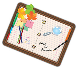 Image of notebook, pocketbook, diary with sign back to school and school supplies, equipment, accessories, items, tools. Cartoon illustration isolated on white background.