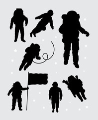 Astronaut silhouettes. Good use for symbol, logo, web icon, mascot, or any design you want. Easy to use.