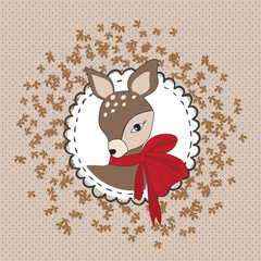 pretty deer with red bow vector illustration