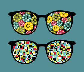 Retro eyeglasses with abstract reflection in it.