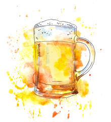 Beer mug. Watercolor with drops and splash, original style