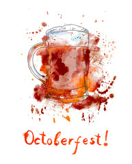 Beer mug for Octoberfest. Watercolor with drops and splash