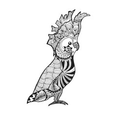 Zentangle stylized cockatoo. Sketch for tattoo or t-shirt.