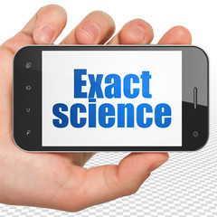 Science concept: Hand Holding Smartphone with Exact Science on