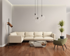 Beige leather contemporary modern living room