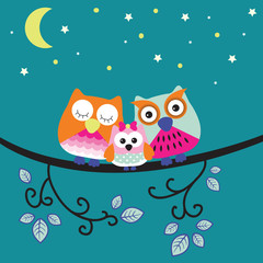 good night owl family vector illustration