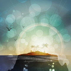 Tropical Landscape with Island and Underwater Terrain - Vector Illustration