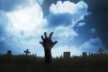 Zombie hand out from the graveyard