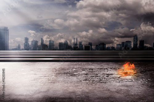 Fotomurales Burning city