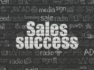 Marketing concept: Sales Success on wall background
