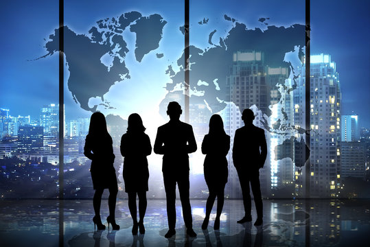 Silhouette of successful business team