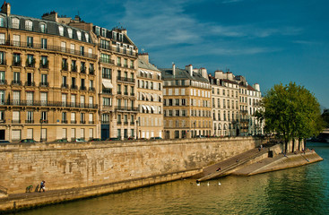 River Seine with nice houses in Paris, France