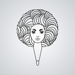 Portrait of a woman with luxuriant hair in the style of an