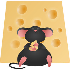 Cheese and happy mouse