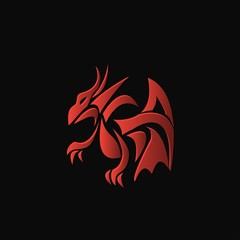 red dragon on a black background